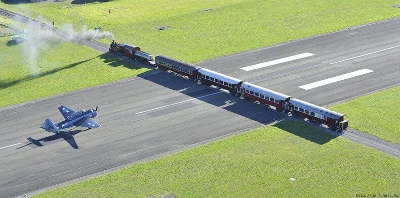 Aéroport Gisborne, avion train Nouvelle-Zélande