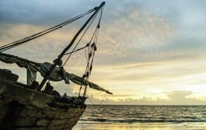 Bateau pêcheur, Nosy-Be, coucher de soleil
