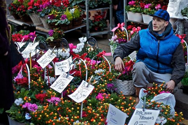 Marché aux fleurs de Columbia Road Londres