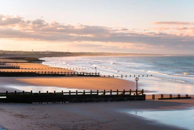 Coucher de soleil sur la plage d'Aberdeen