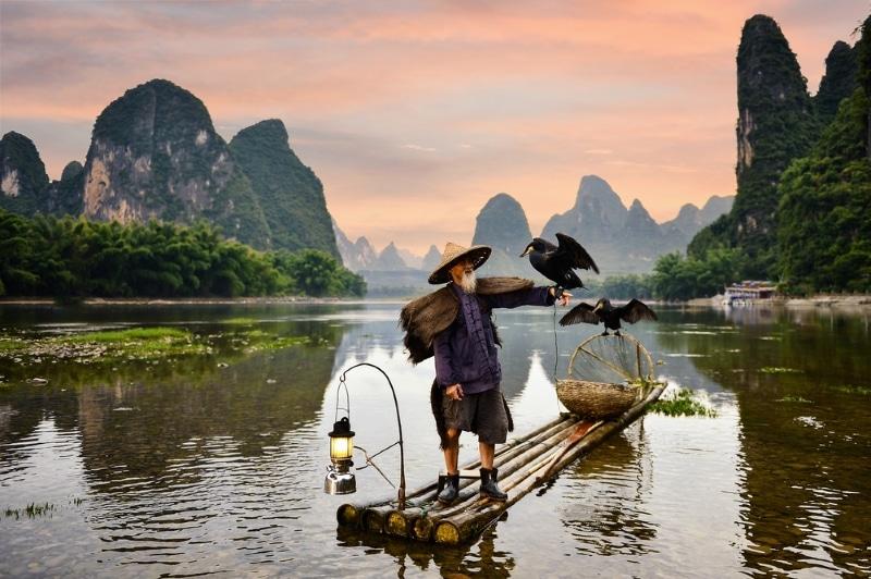 Guilin rivière Li pêcheur