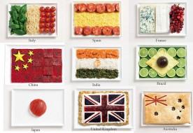 Drapeaux nationaux, aliments traditionnels, pays