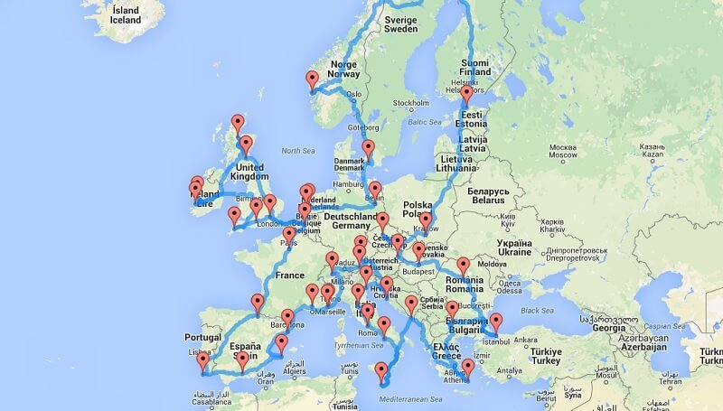 Road trip optimal pour visiter l'Europe