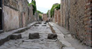 Rue pavée à Pompéi, visite, Naples