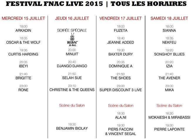 FNAC Live Festival, horaires, programmation, artistes