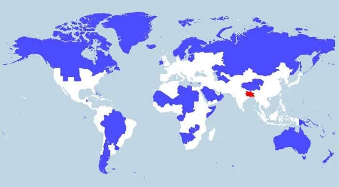 Une carte permet de se rendre compte de la densité de la population