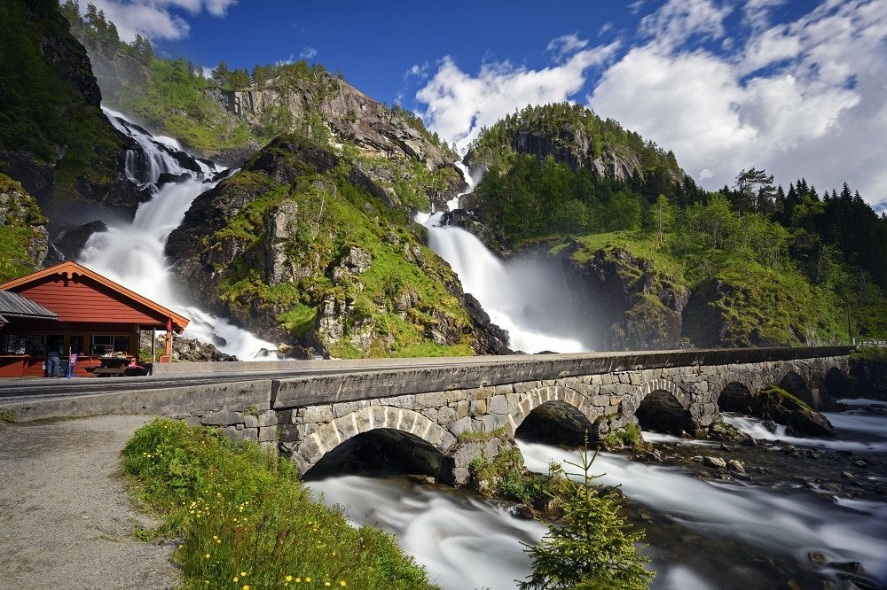 Pont chutes Latefossen en Norvege