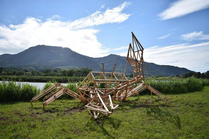 Festival Wara Art Niigata, Japon, dinosaures en paille