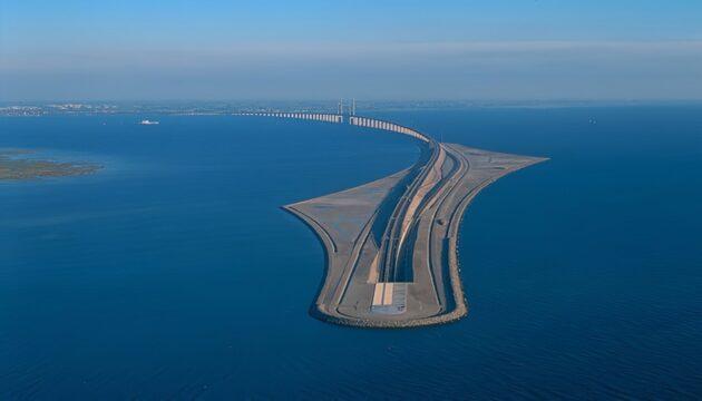 Le pont-tunnel Øresundsbron qui relie la Suède et le Danemark sous l'eau