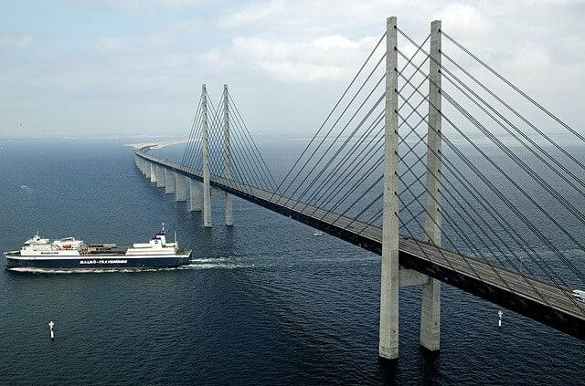 Oresundsbron, pont sous l'eau, Suède, Danemark