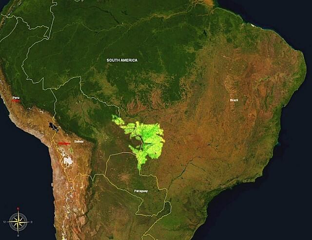 carte du Pantanal, Brésil