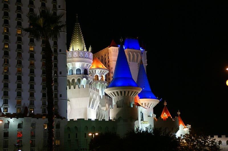 Excalibur Hotel at night in Las Vegas