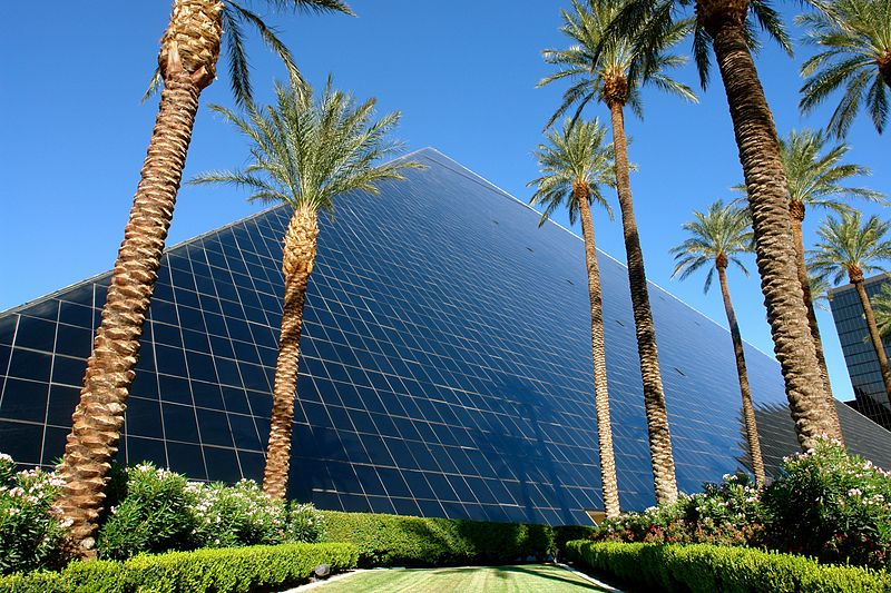 Exterior view of the Luxor Hotel in Las Vegas