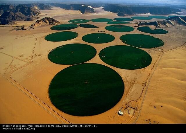 irrigation en caroussel, Wadi Rum, Jordanie