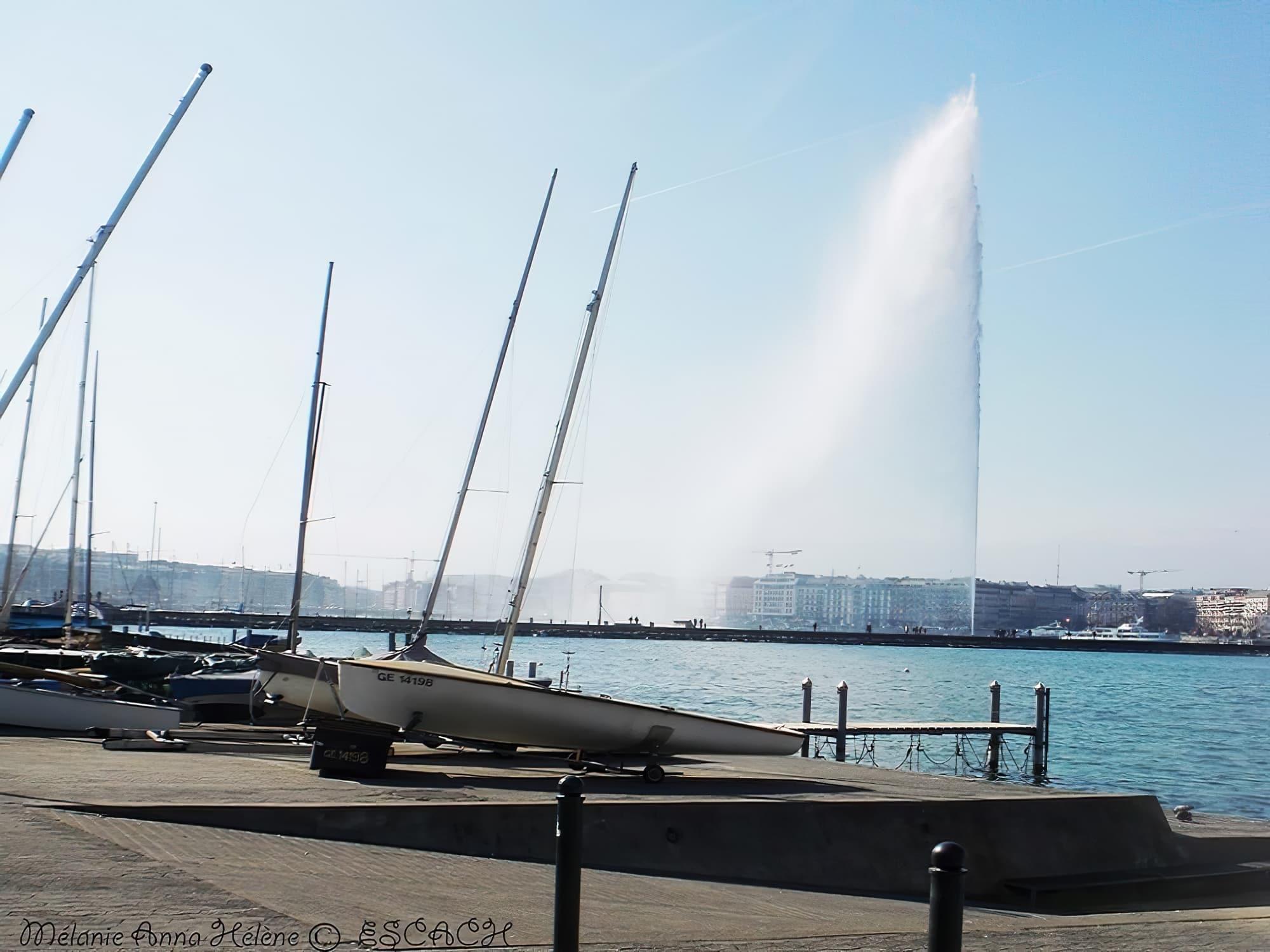 Le grand jet d'eau dans le lac de Genève