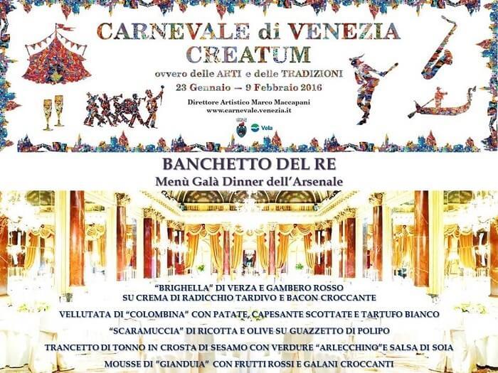 menu, dîner, Carnaval de Venise