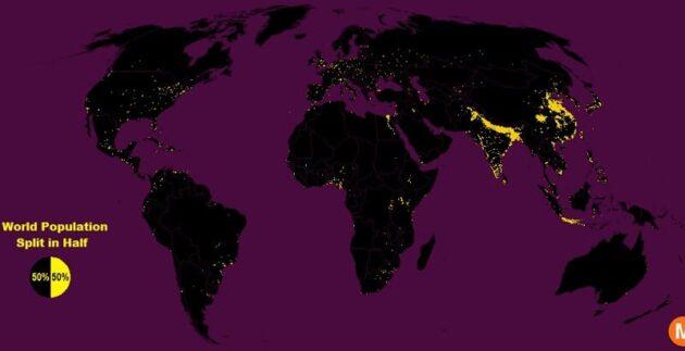 La moitié de la population mondiale vit sur 1% de ses terres