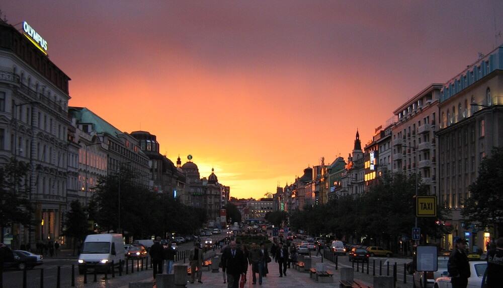 Prague, Place Venceslas, Nuit