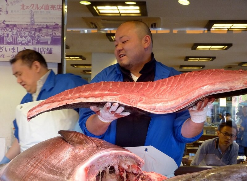Vendeur, poissons, Tokyo