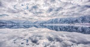 Japon, lac, miroir