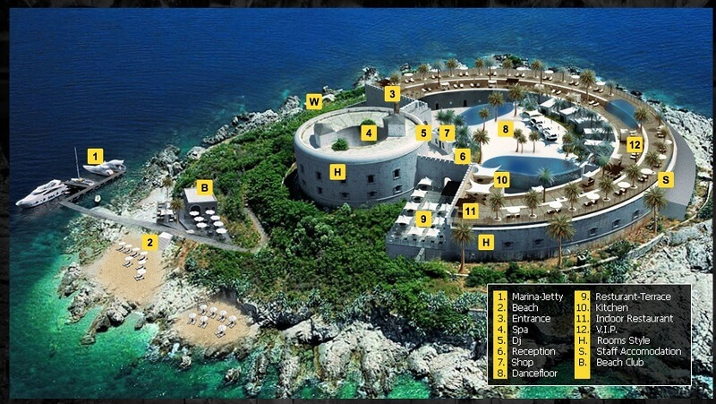 Orascom, fort Mamula, île, Montenegro