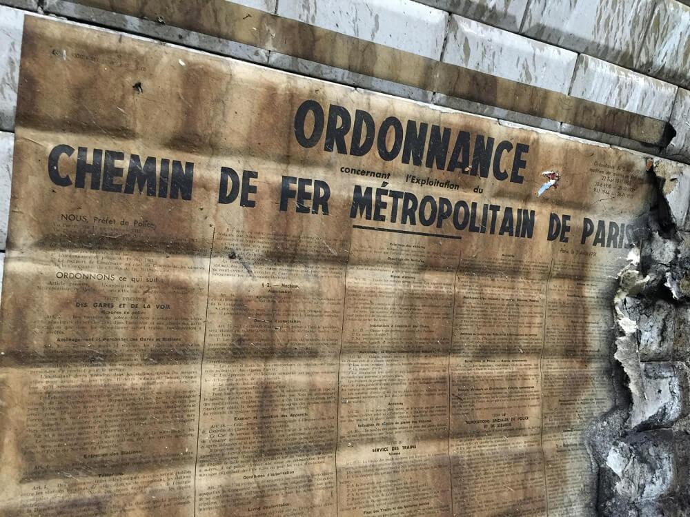 Paris, affiche, vieux, métro