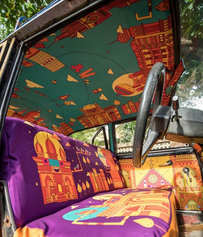 Taxi, Inde, déco, violet