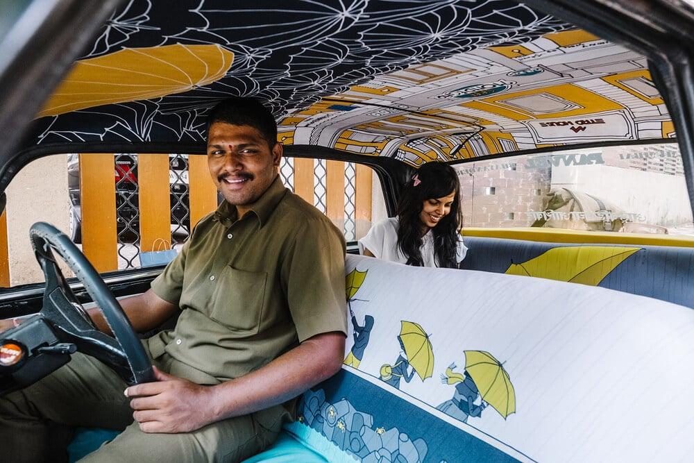 Taxi, Inde, décoration, bleue, tissu