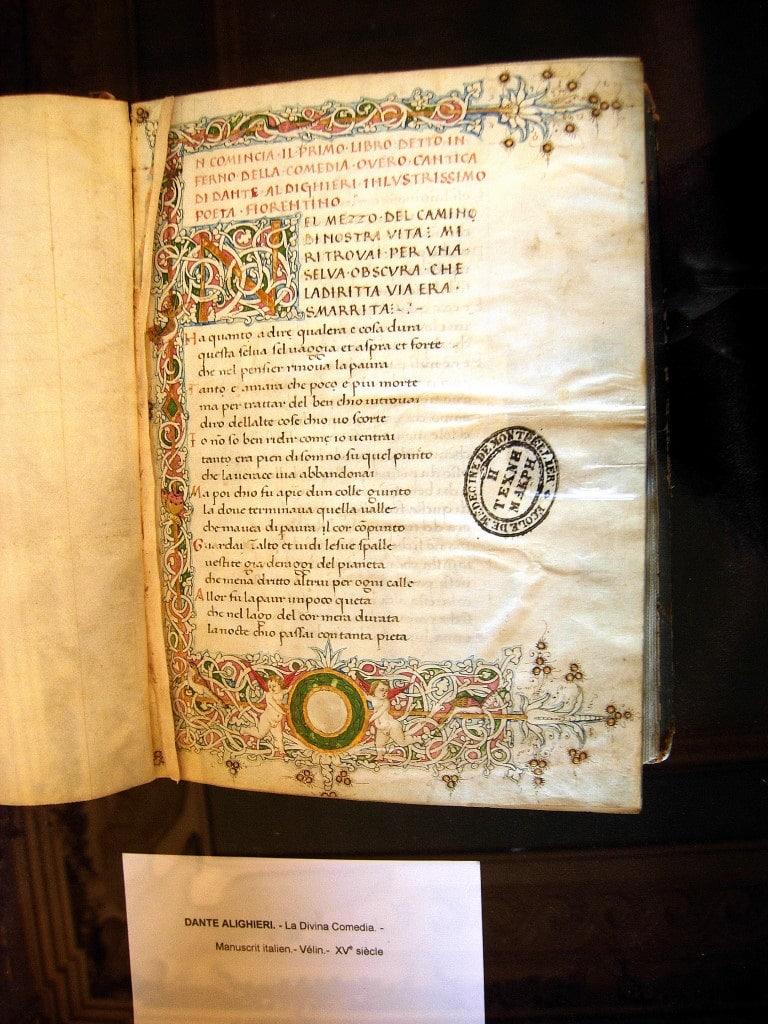Manuscrit de Dante dans la bibliothèque de médecine de Montpellier
