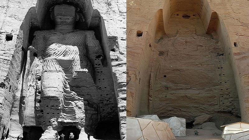 Statue, Bouddha, Avant, Après