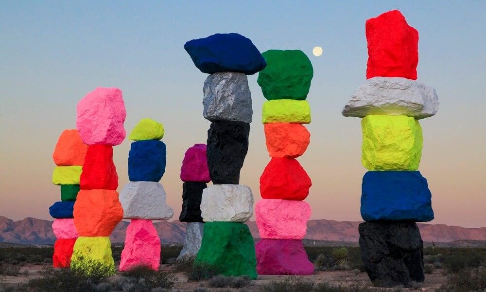 Structures, Pierres, Désert, Nevada