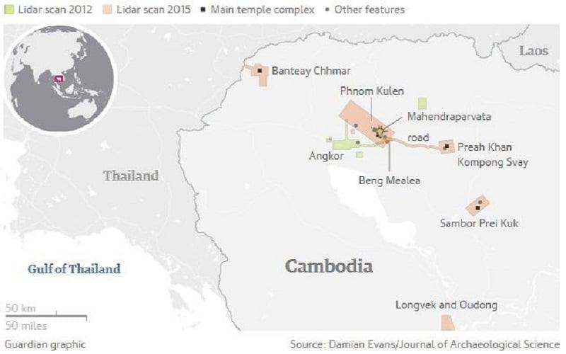 Carte, Fouilles archéologiques, Cambodge