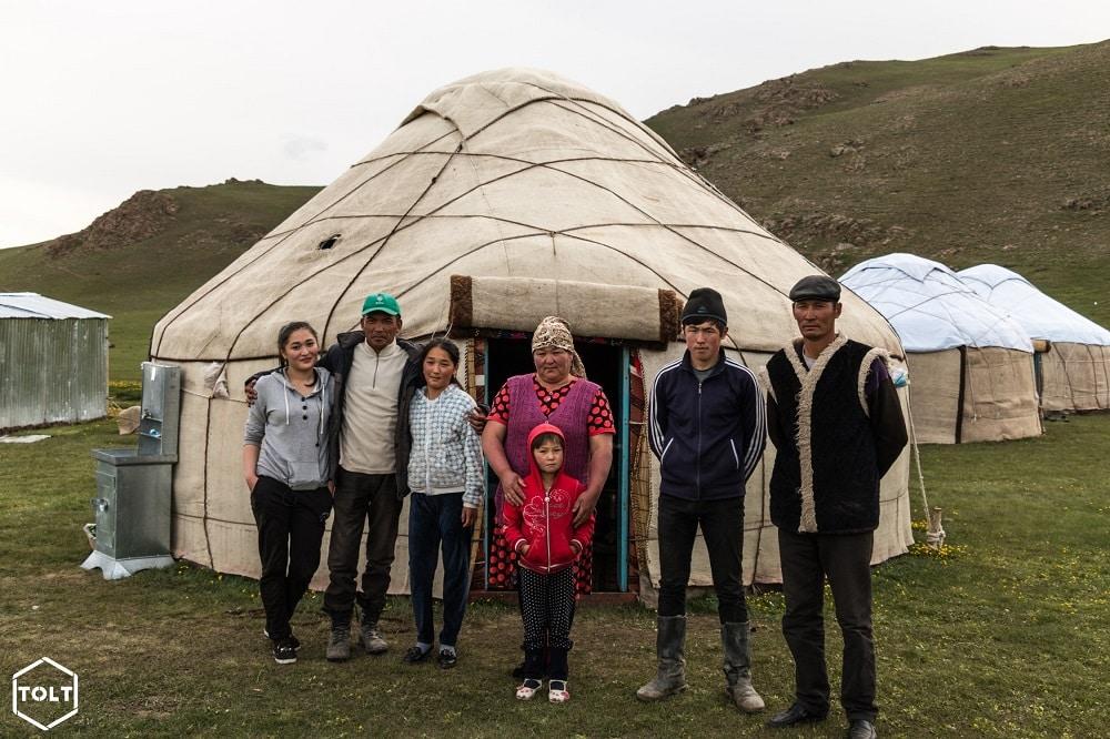 Kyrgyz family and their yurt