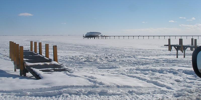 Lac St Clair enneigé, Détroit