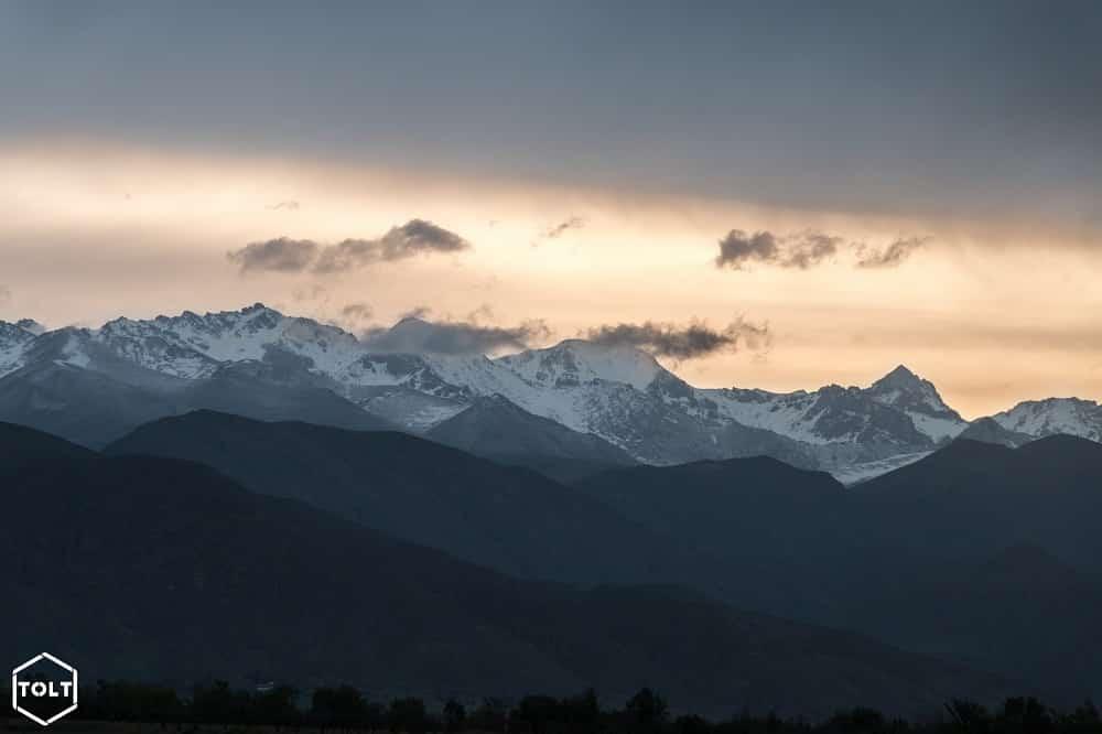 Sunrising over Kyrgyz snowy mountains