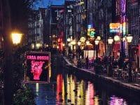 Vue de nuit du Quartier Rouge, Amsterdam, Pays-Bas
