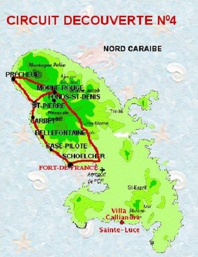 Carte de la Route de la Trace en Martinique