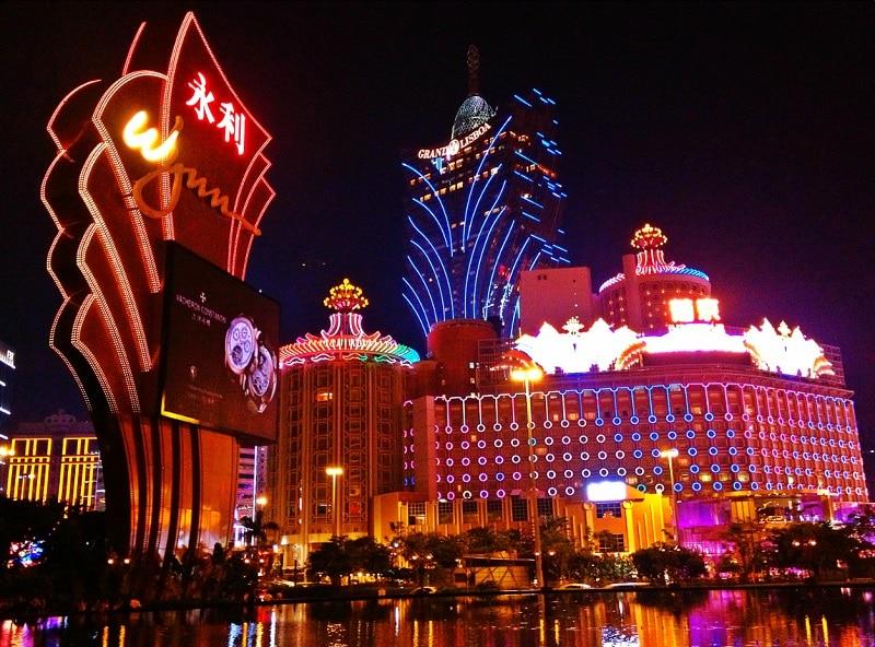 Lumières des casinos à Macao