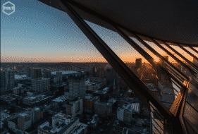 Vancouver lookout vue sur la ville coucher de soleil