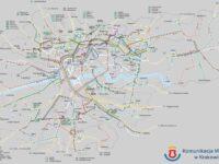 Carte des lignes de bus de Cracovie
