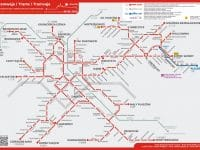 Carte des lignes de tram de Cracovie