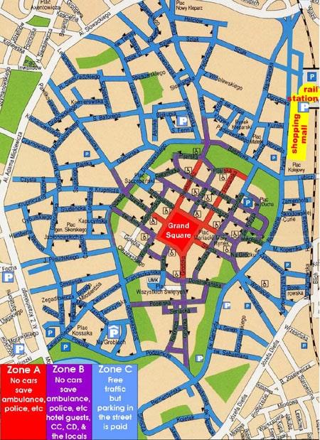 Carte des zones de circulation à Cracovie