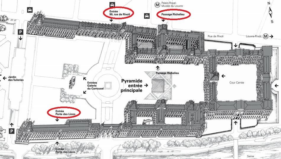 Plan des entrées du musée du Louvre
