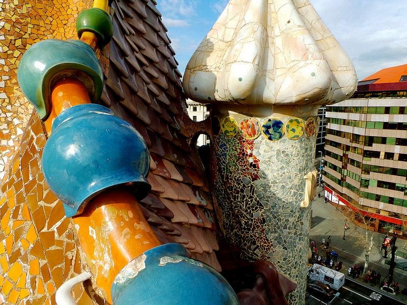Cheminée sur le toit de la Casa Batlló