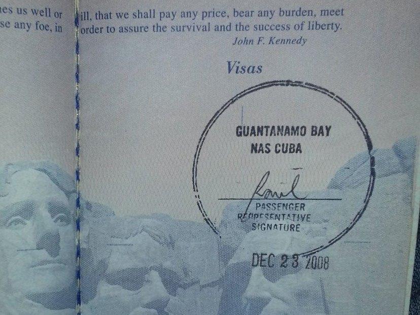 Tampon de passeport de la baie de Guantanamo, Cuba