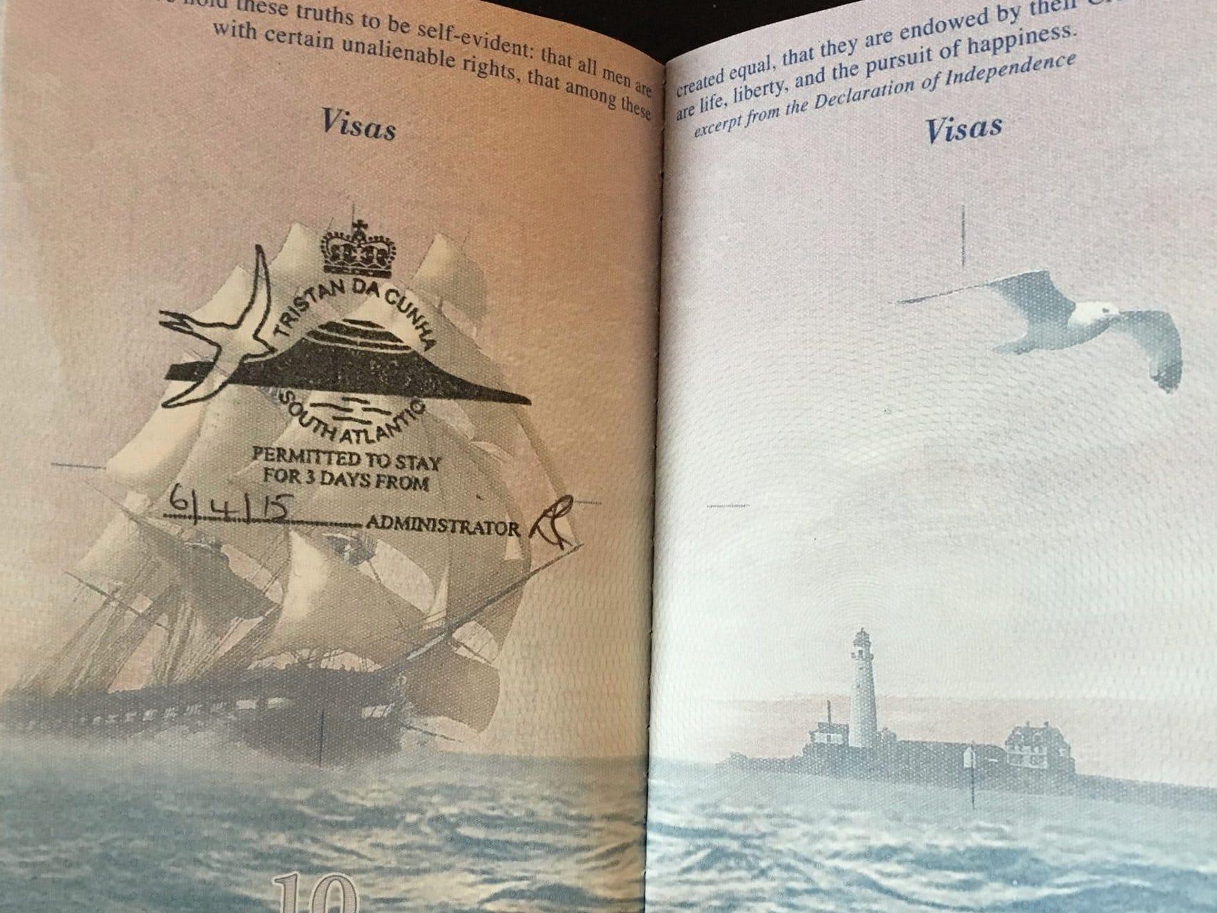 Tampon de passeport de Tristan da Cunha