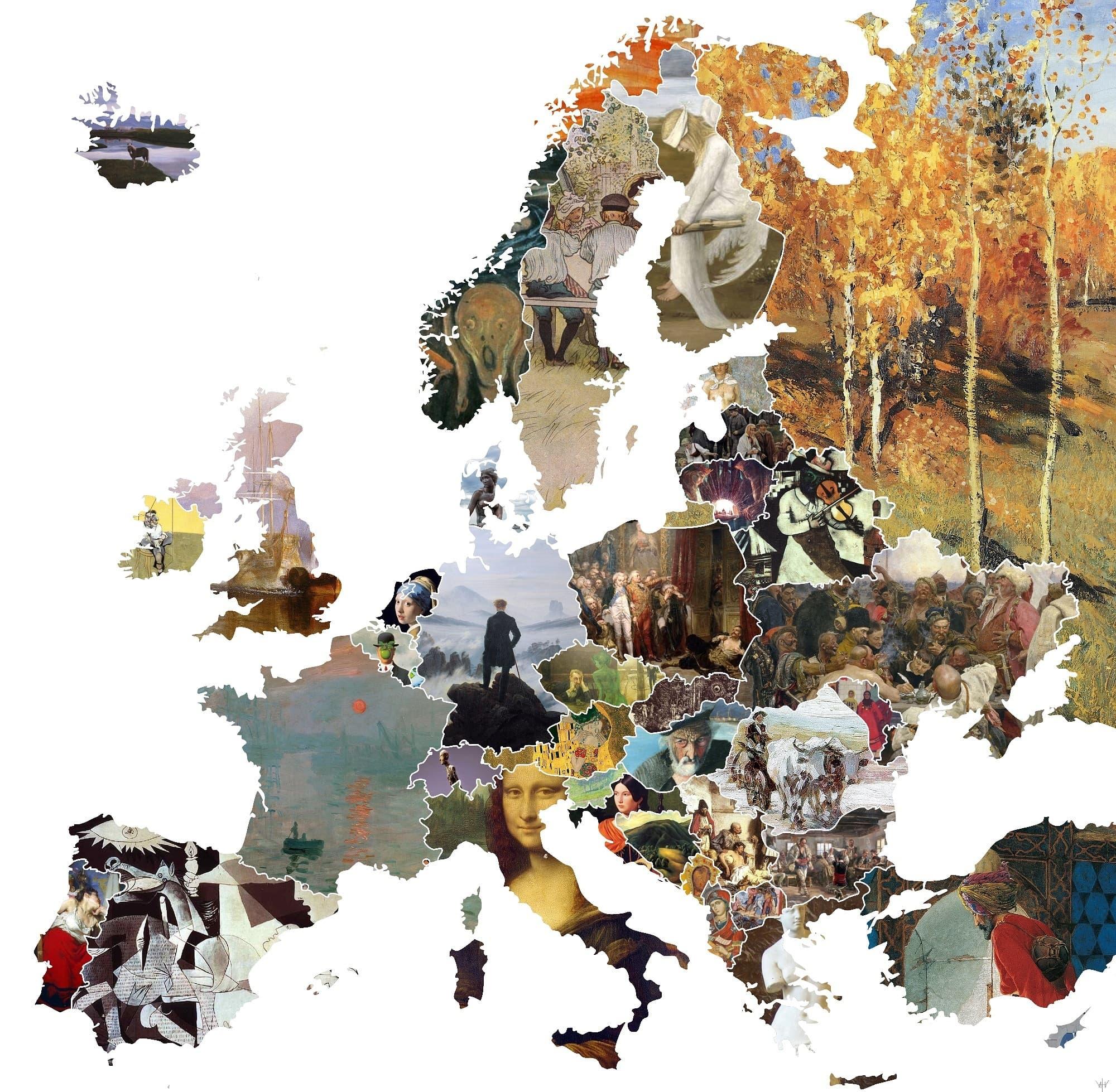 Carte de l'Europe des oeuvres par pays