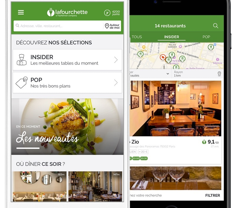 La Fourchette, application restaurant
