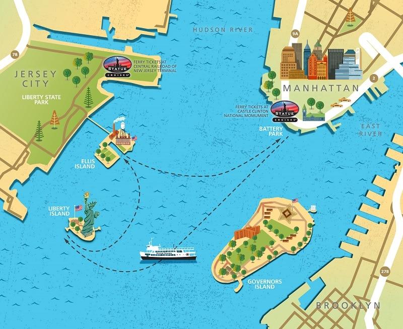 Trajets en ferry pour la Statue de la liberté et Ellis Island