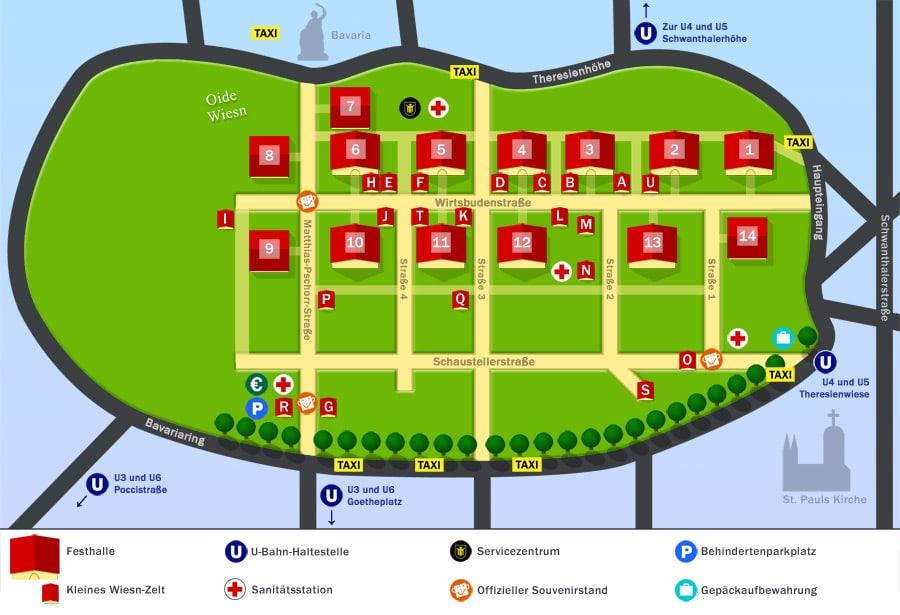 Plan, carte de l'Oktoberfest à Munich